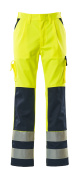 07179-470-171 Trousers with kneepad pockets - hi-vis yellow/navy