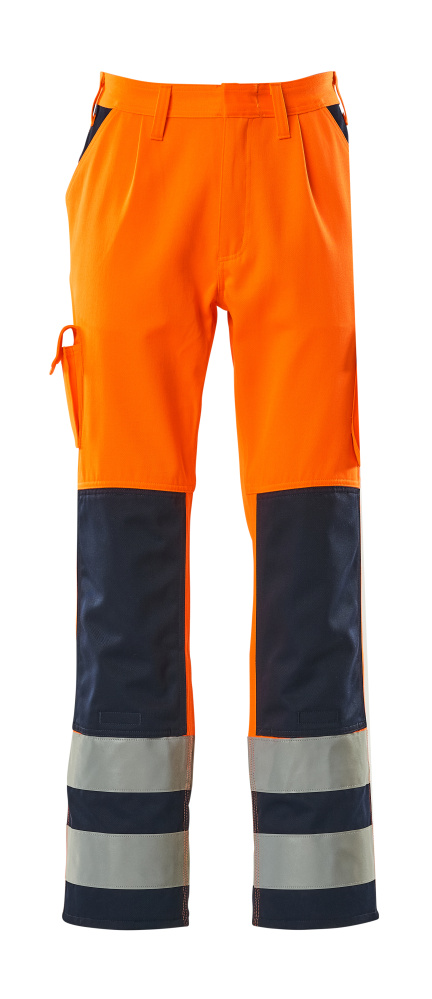 07179-860-141 Trousers with kneepad pockets - hi-vis orange/navy