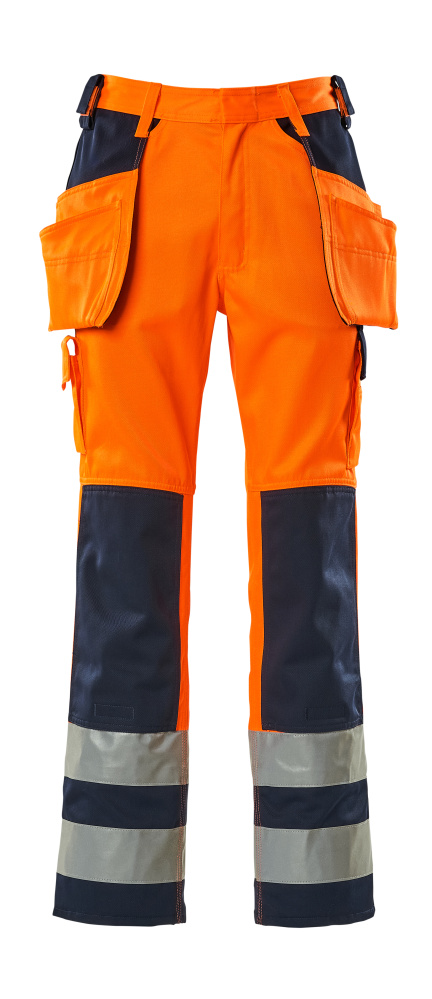 09131-860-141 Trousers with holster pockets - hi-vis orange/navy