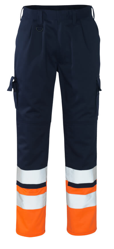 12379-430-0114 Trousers with kneepad pockets - navy/hi-vis orange