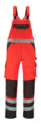 14969-860-A49 Bib & Brace with kneepad pockets - hi-vis red/dark anthracite