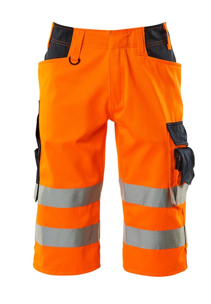 15549-860-14010 Shorts, long - hi-vis orange/dark navy