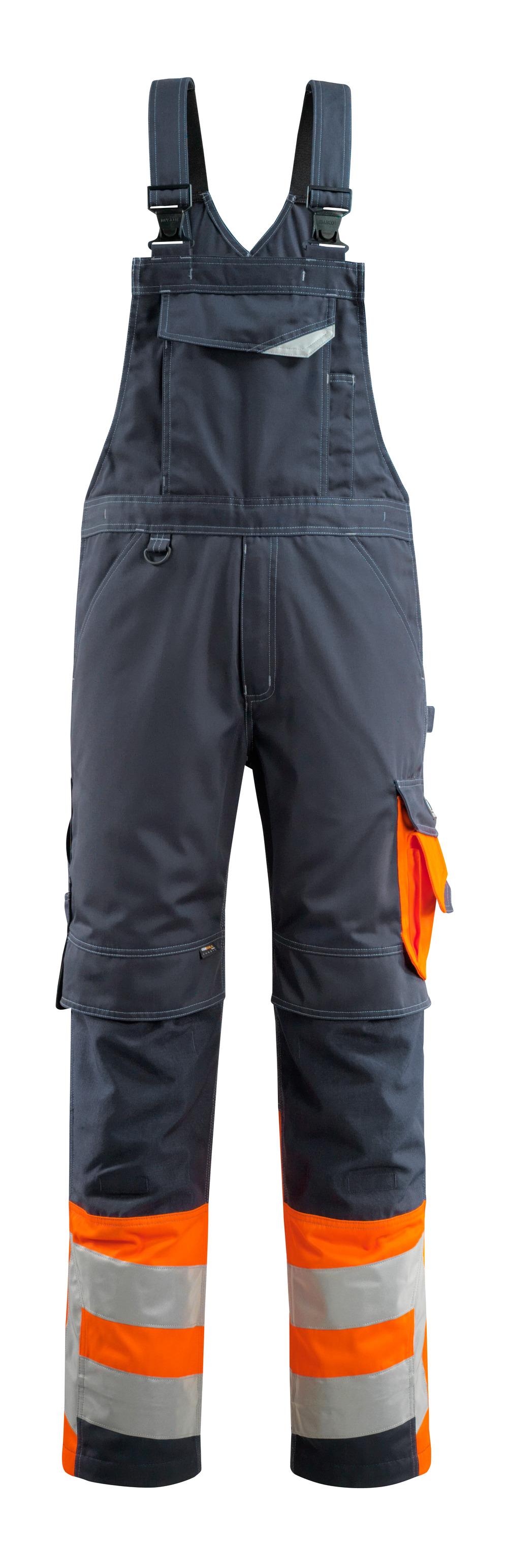 15669-860-01014 Bib & Brace with kneepad pockets - dark navy/hi-vis orange