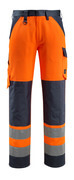15979-948-14010 Trousers with kneepad pockets - hi-vis orange/dark navy