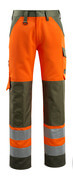 15979-948-1433 Trousers with kneepad pockets - hi-vis orange/moss green