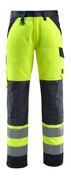 15979-948-17010 Trousers with kneepad pockets - hi-vis yellow/dark navy