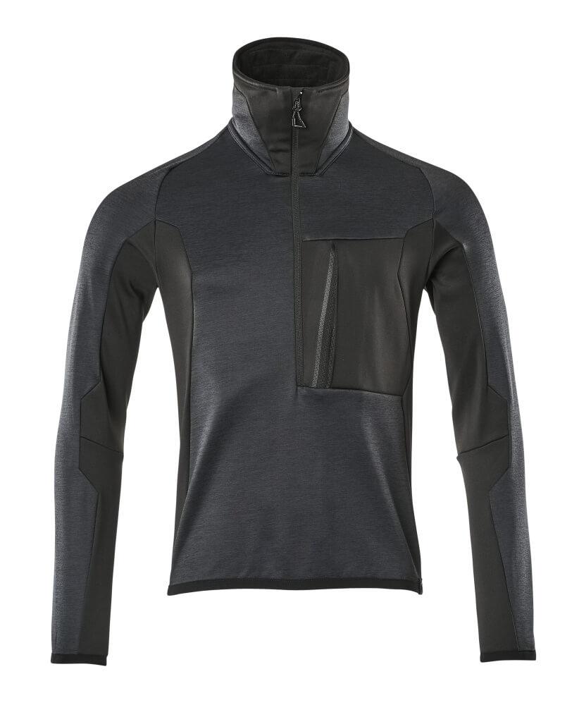 17003-316-01009 Fleece Jumper with half zip - dark navy/black