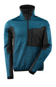 17003-316-4409 Fleece Jumper with half zip - dark petroleum/black