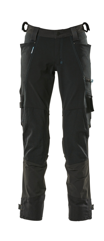 17079-311-09 Trousers with kneepad pockets - black