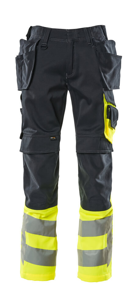 17531-860-01017 Trousers with kneepad pockets and holster pockets - dark navy/hi-vis yellow
