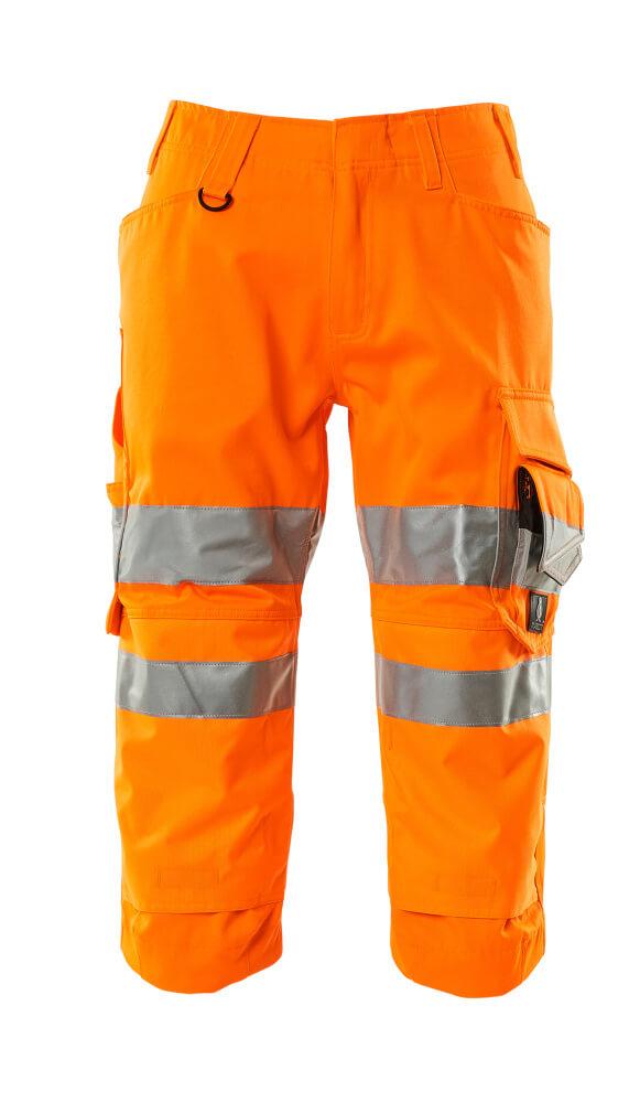17549-860-14 ¾ Length Trousers with kneepad pockets - hi-vis orange