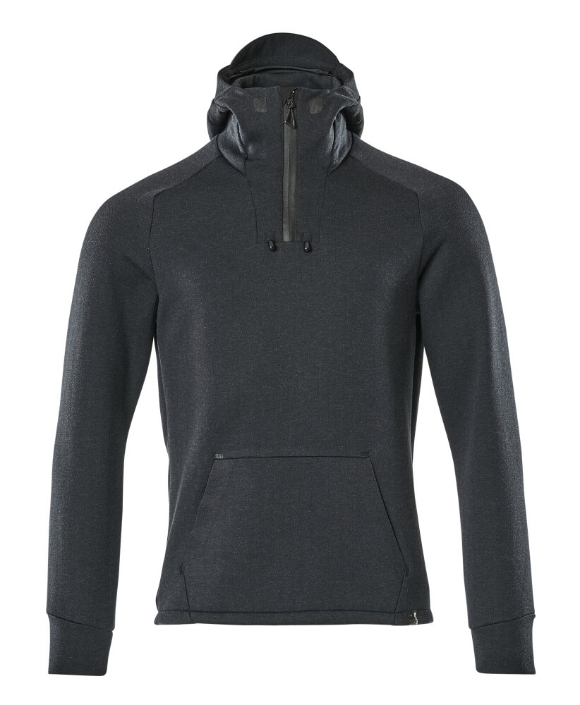 17684-319-01009 Hoodie with half zip - dark navy/black