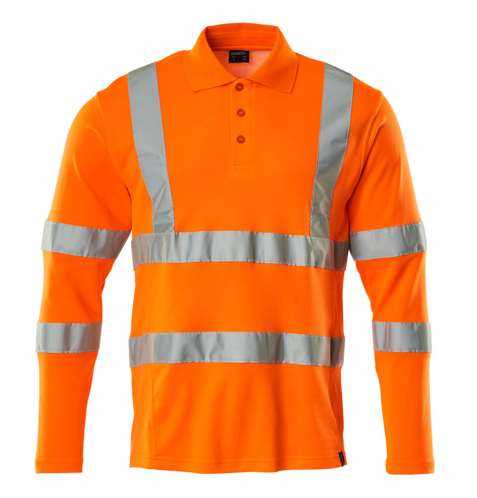 18283-995-14 Polo Shirt, long-sleeved - hi-vis orange