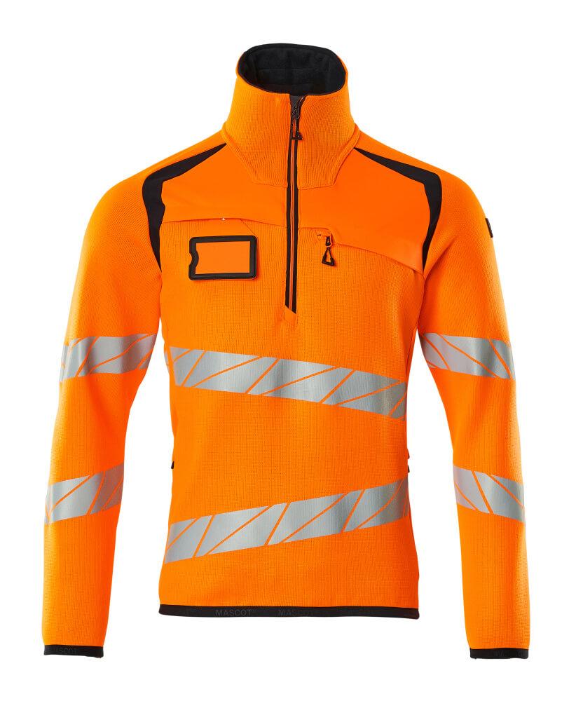 19005-351-14010 Knitted Jumper with half zip - hi-vis orange/dark navy