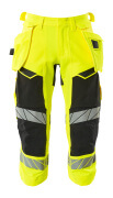 19049-711-1709 ¾ Length Trousers with holster pockets - hi-vis yellow/black