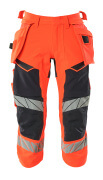 19049-711-22210 ¾ Length Trousers with holster pockets - hi-vis red/dark navy