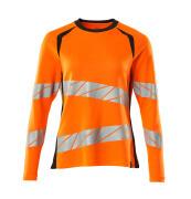 19091-771-14010 T-shirt, long-sleeved - hi-vis orange/dark navy