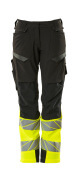 19178-511-01014 Trousers with kneepad pockets - dark navy/hi-vis orange