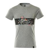 19182-965-08222 T-shirt - grey-flecked/hi-vis red