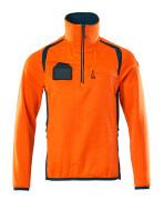 19303-316-1444 Fleece Jumper with half zip - hi-vis orange/dark petroleum