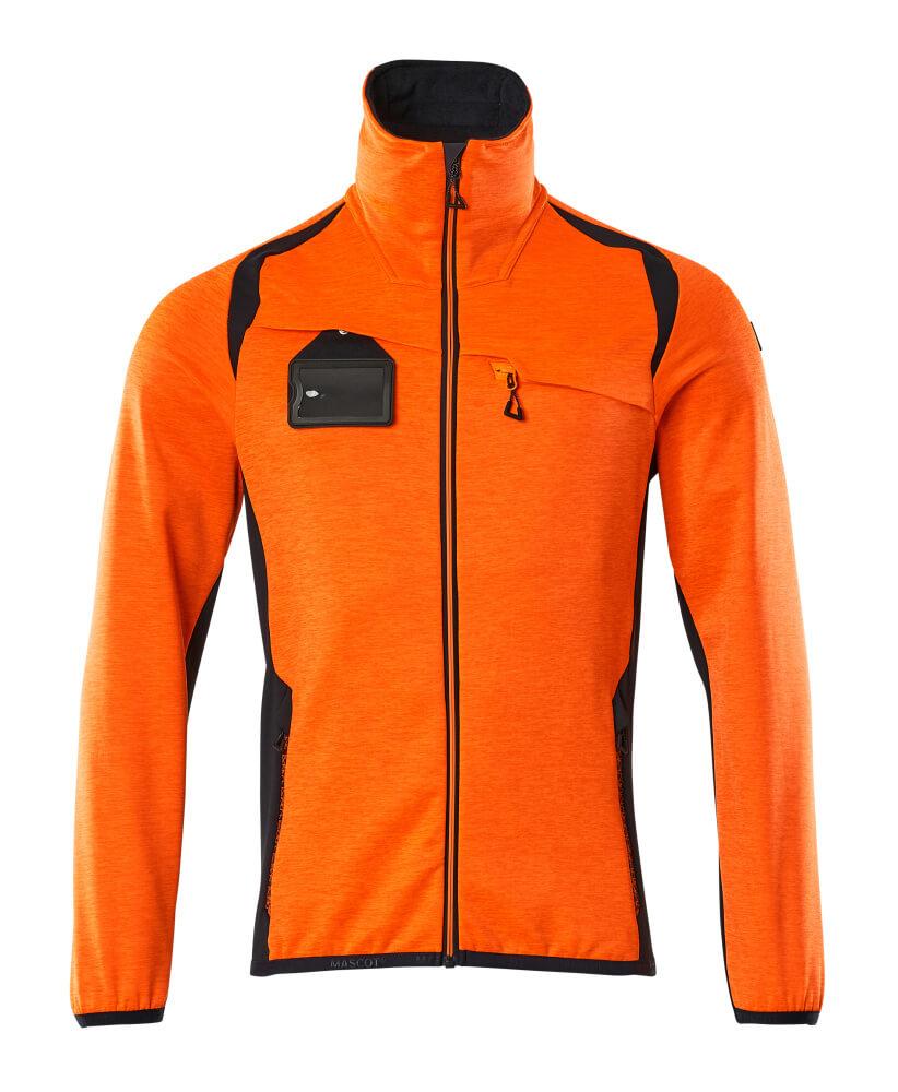19403-316-14010 Fleece Jumper with zipper - hi-vis orange/dark navy