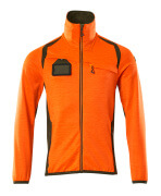 19403-316-1433 Fleece Jumper with zipper - hi-vis orange/moss green