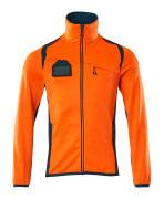 19403-316-1444 Fleece Jumper with zipper - hi-vis orange/dark petroleum