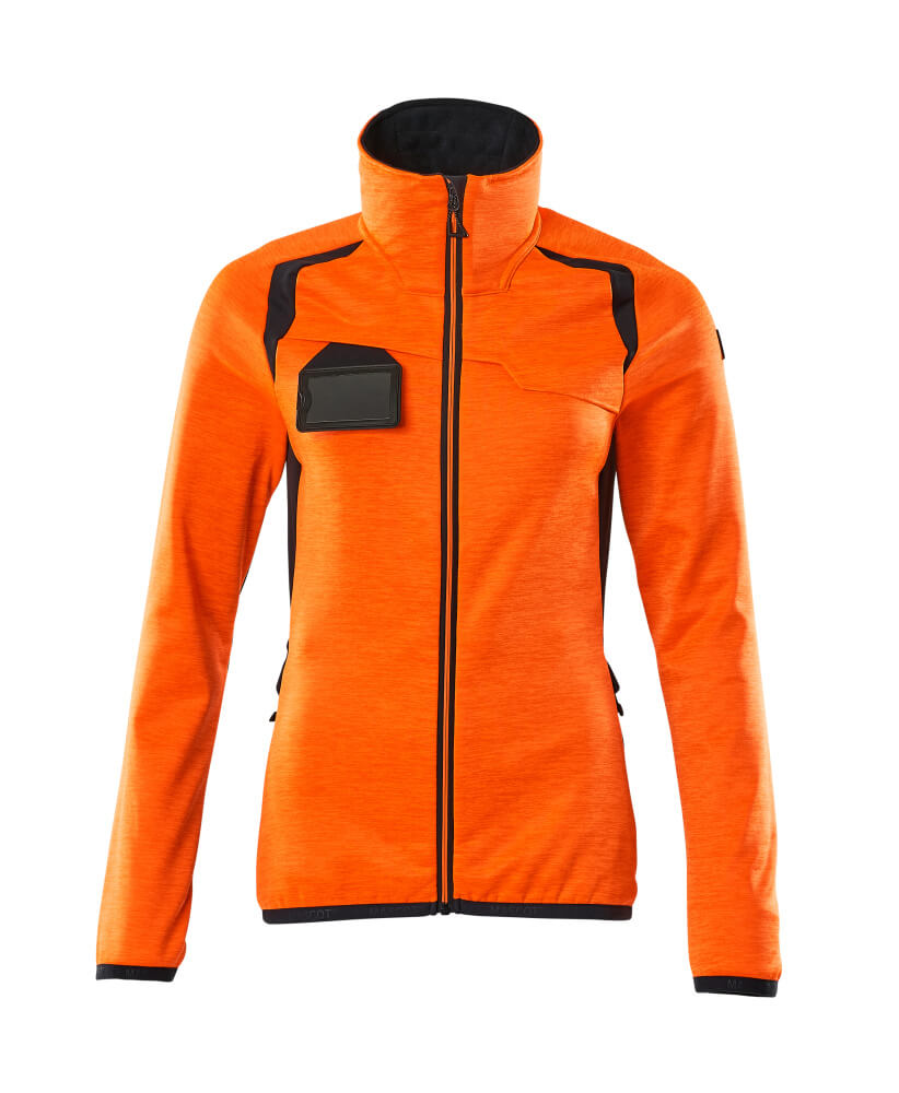 19453-316-14010 Fleece Jumper with zipper - hi-vis orange/dark navy