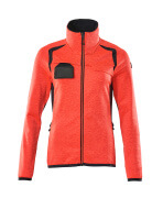 19453-316-22210 Fleece Jumper with zipper - hi-vis red/dark navy