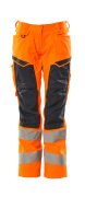 19578-236-14010 Trousers with kneepad pockets - hi-vis orange/dark navy