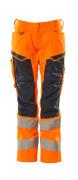 19578-236-14010 Trousers with kneepad pockets - hi-vis orange/dark navy