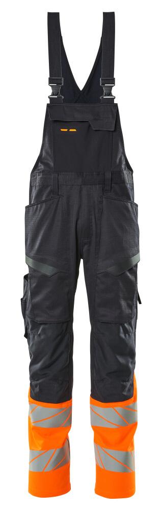 19669-236-01014 Bib & Brace with kneepad pockets - dark navy/hi-vis orange