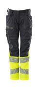 19678-236-01014 Trousers with kneepad pockets - dark navy/hi-vis orange
