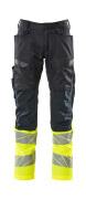 19679-236-01014 Trousers with kneepad pockets - dark navy/hi-vis orange