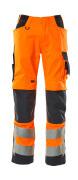 20879-236-14010 Trousers with kneepad pockets - hi-vis orange/dark navy