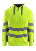 50138-932-1718 Hoodie with zipper - hi-vis yellow/dark anthracite