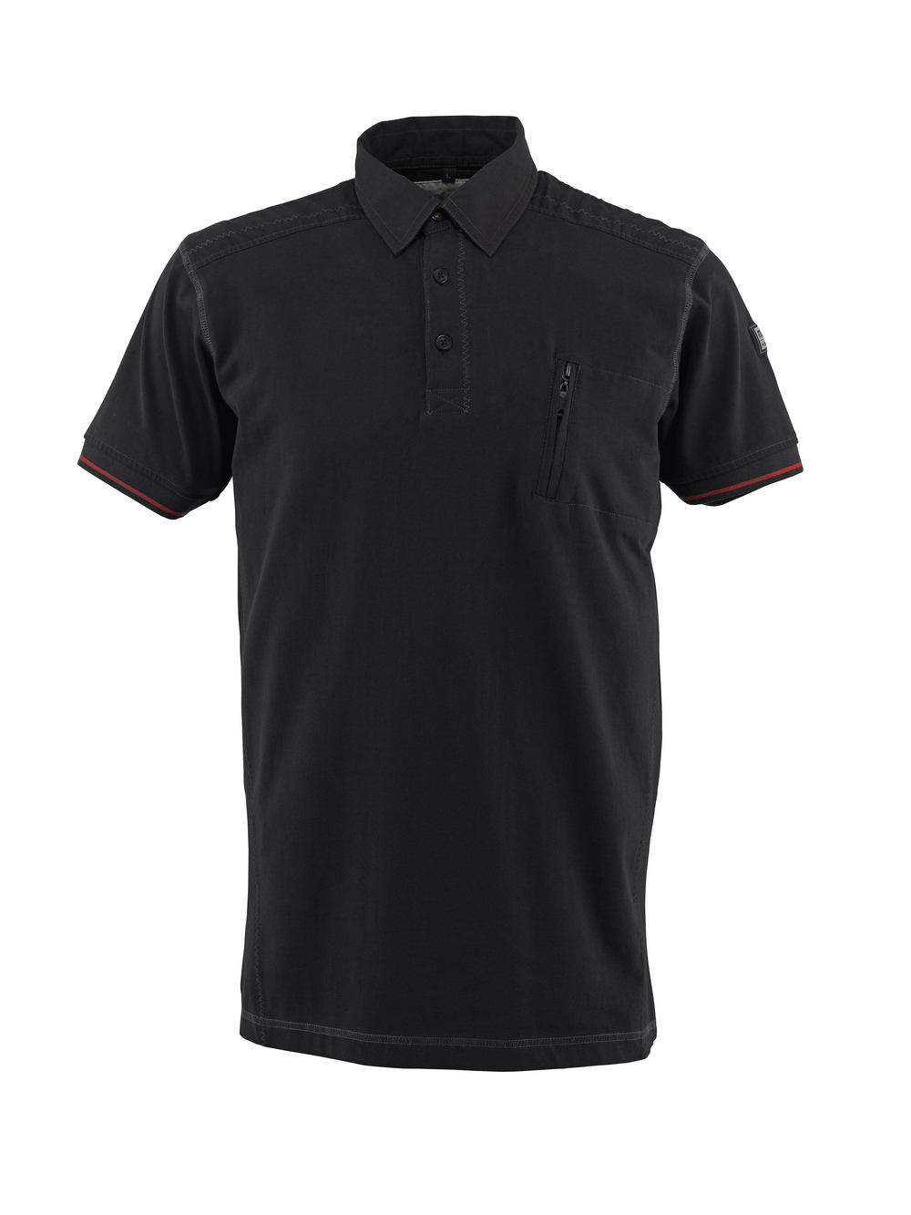 50351-833-09 Polo Shirt with chest pocket - black