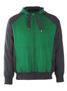 50566-963-0309 Hoodie with zipper - green/black
